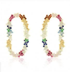 Brinco- Prisma - Safiras coloridas