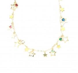 Colar Estrelas e pedras coloridas
