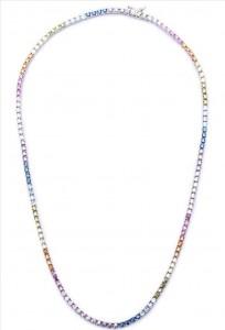 Colar Riviera Colorida Rainbow Prata - 39cm